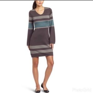 Prana |Sydney Teal Grey Stripe Sweater Dress Large